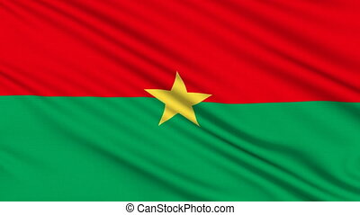 Burkina Faso flag, with real structure of a fabric