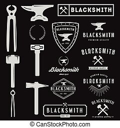 Set of logo for blacksmith, typographic logotype and design...