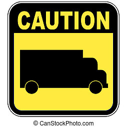 yellow caution sign with transport truck