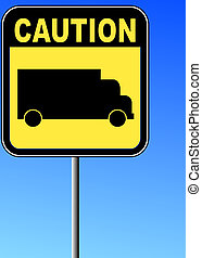 yellow caution sign with transport truck against blue sky background