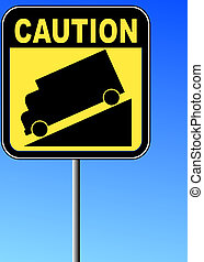yellow caution steep grade down sign with blue sky background