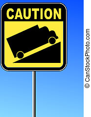 yellow caution steep grade up sign with blue sky