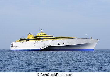 moderno, alto, velocidad, transbordador, barco