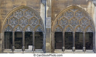 The golden arch on the window of Westminster Abbey....