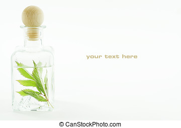 Jar with fresh leaves (SPA concept). With sample text