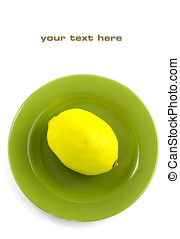 Lemon on a green plate. With sample text