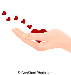 Holding heart - Sending Love - Illustration of a hand...