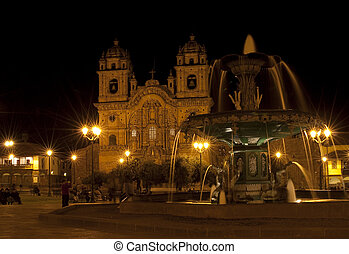 plaza-de-armas in Cusco - the central area of the city of...