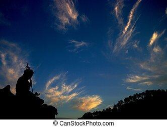 Buddha, estatua, silueta