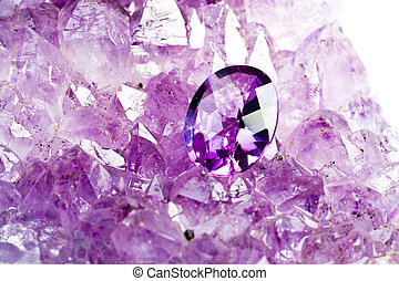 Amethyst Gem - Amethyst raw stone and polished Gem .
