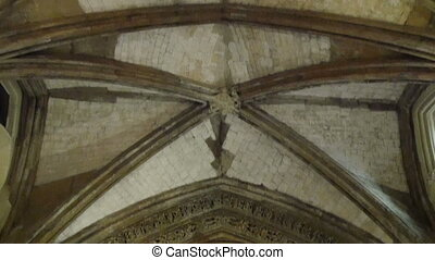 The beautiful ceiling of the Westminster Abbey church. Seen...
