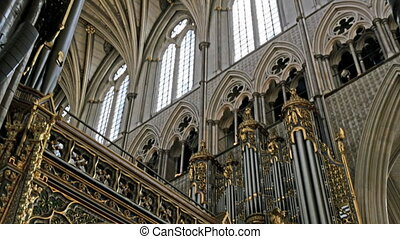 View from inside the Westminster Abbey. Seen are the big...