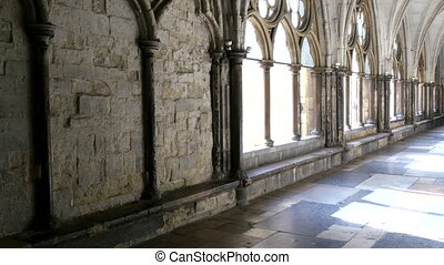 The big windows inside the Westminster Abbey It has gold...