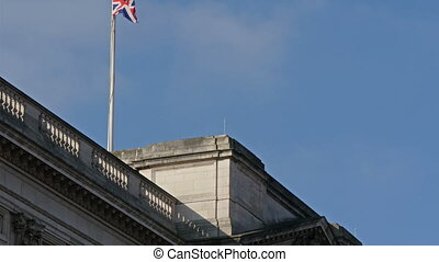 The roof of the Buckingham Palace where the flag pole is...