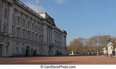 The view of the Buckingham Palace from outside. Buckingham...