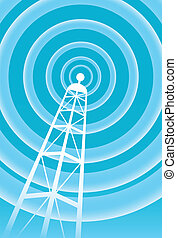 broadcasting tower signal in a bright blue and white...