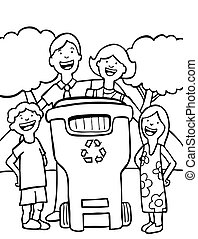 recycling family line art