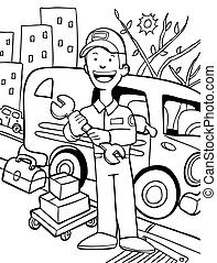 Repairman Cartoon Line Art with truck and neighborhood in...