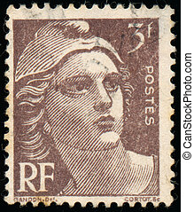 Stamp printed in France shows Marianne - FRANCE - CIRCA...
