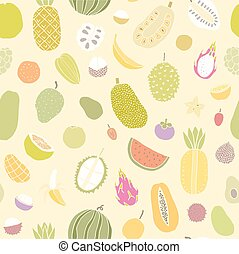 Tropical fruits seamless pattern Vector hand drawn...
