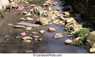 Polluted river - A polluted river in Nepal