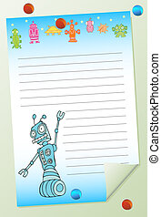 robot notepad isolated on a white background