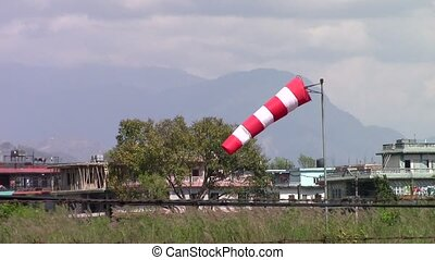 Manche a? air 2 - Windsock at Pokhara airport in Nepal