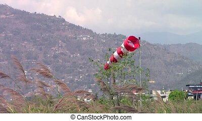 Windsock at Pokhara airport in Nepal