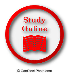 Study online icon Internet button on white background