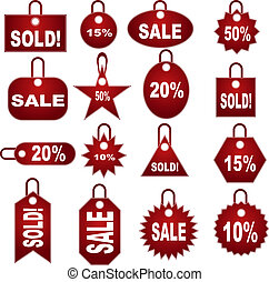 retail pricing tag set isolated on a white background