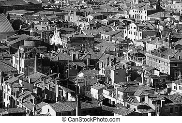Venice, Italy, many houses seen from the campanile di san...