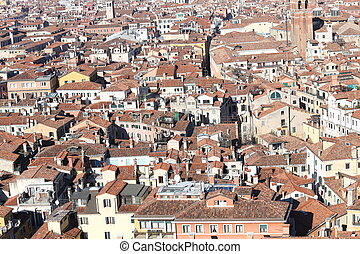 Venice, many houses seen from the campanile di san marco -...