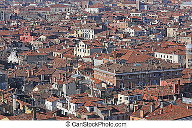 houses with red-tile roofs and bricks in southern Europe -...