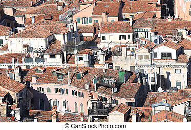 houses seen from the top of the Mediterranean country -...