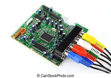 The printed-circuit board from modern DVD a player with...