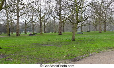 The Green Park in Buckingham London It has green grasses and...