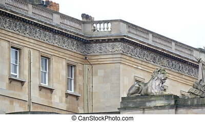 The lion and the unicorn statue on inside the Buckingham Palace