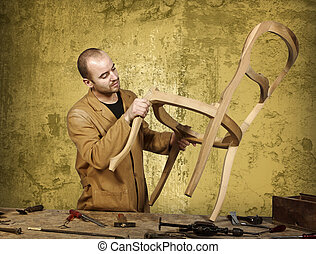 craftsman at work - fine portrait of craftsman at work and...