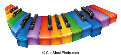 piano - beautiful colourful piano keyboard in a white...