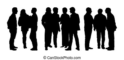 people talking to each other silhouettes set 3 - black...