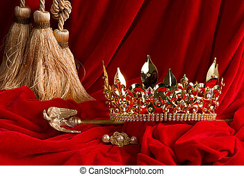 Crown and scepter on red velvet - Golden king's crown and...