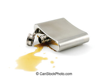 Alcohol addiction - Close-up of a flask isolated on white...