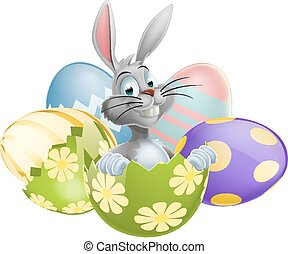 White Easter Bunny in Egg - An illustration of a happy cute...