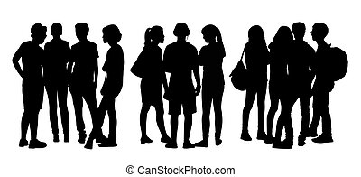 people talking to each other silhouettes set 6 - black...