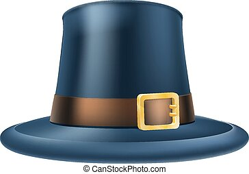 Thanksgiving pilgrim hat - An illustration of a capatain...