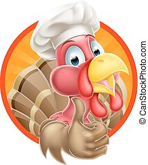 Cartoon Chef Hat Turkey - Cartoon turkey mascot giving a...