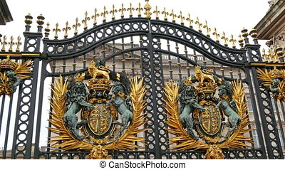 One of the big gates from the Buckingham Palace Seen are the...