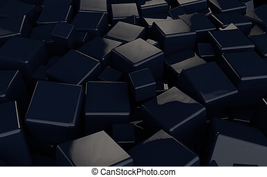 3D black cubes background
