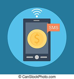Mobile Banking - Flat style vector illustration of the...