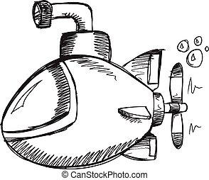 Doodle Sketch Submarine Vector art - Doodle Sketch Submarine...
